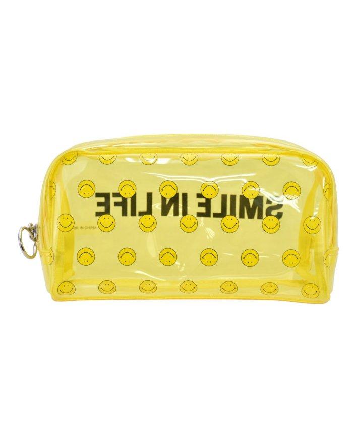 (RUNNER/ランナー)スマイル ペンケース 筆箱 レディース 女子 大人 高校生 透明 大容量 PVC ファスナー キャラクター 女の子/レディース イエロー