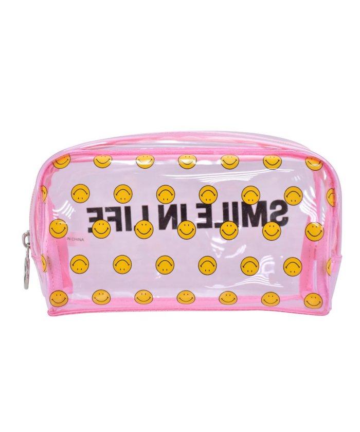 (RUNNER/ランナー)スマイル ペンケース 筆箱 レディース 女子 大人 高校生 透明 大容量 PVC ファスナー キャラクター 女の子/レディース ピンク