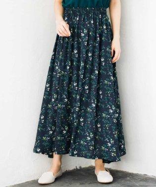 【洗濯機で洗える】小花プリントフレアーマキシスカート