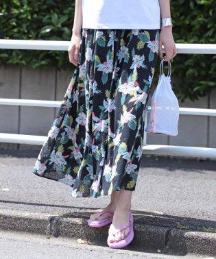 Ray BEAMS / アロハ柄 フレア マキシ スカート