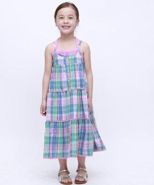 マドラスチェックロングドレス