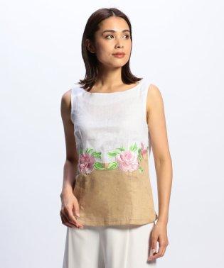 フラワー刺繍ノースリーブ麻ブラウス
