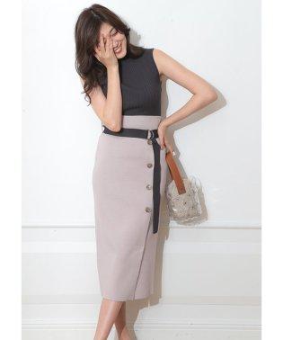【MAGASEEK/d fashion限定カラー】ベルト付サイド釦ニットアップ