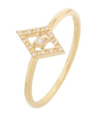 K18ダイヤモンド ひし形取り巻き リング