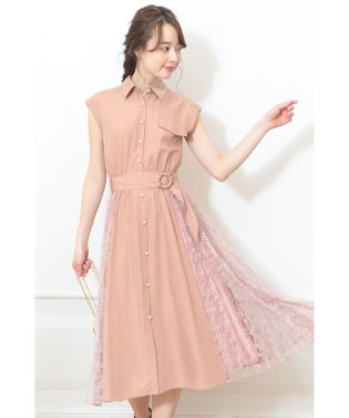 【MAGASEEK/d fashion限定カラー】サイドレースシャツワンピース