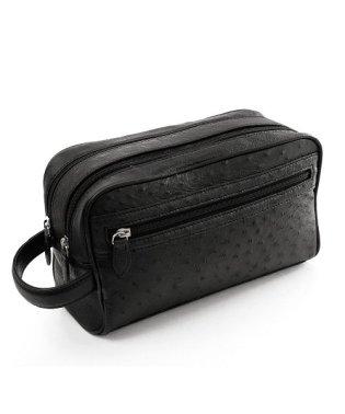 セカンドバッグ メンズ オーストリッチ レザー Wファスナー 本革 ビジネスバッグ