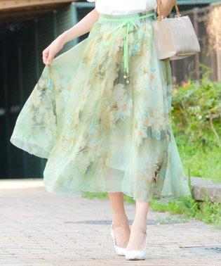 花柄 シフォン マキシ丈 フレアスカート