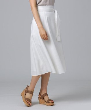 [L]【洗える】ウエストリボン ストライプフレアスカート