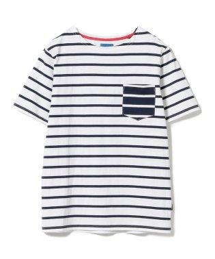 BEAMS / ボーダー パッチポケット ボートネック Tシャツ