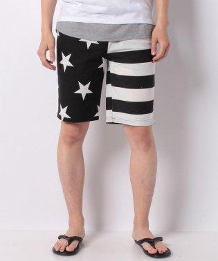 ミニ裏毛星条旗プリント膝上スウェットイージーハーフパンツショートパンツショーツ