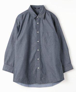 ローブインディゴドビー織8分袖シャツ