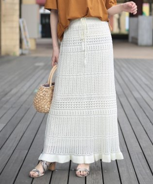 【WEB限定】柄編みサマーニットロングスカート