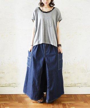 サイドポケットスカートワイドパンツ