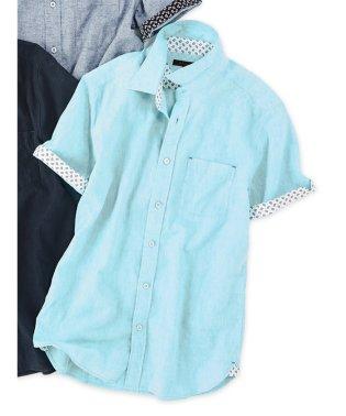 フレンチリネン混シャンブレー レギュラーカラー半袖シャツ