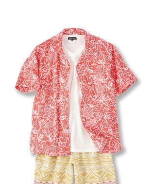【大きいサイズ】日本製かりゆし裏使いリーフ柄シャツ