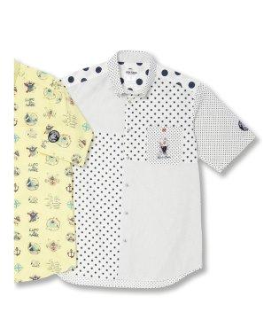 【大きいサイズ】シナコバ/SINA COVA  ドット切替ボタンダウン半袖シャツ