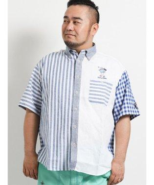 【大きいサイズ】シナコバ/SINA COVA  綿麻半身切替ボタンダウン半袖シャツ