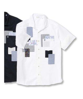 【大きいサイズ】バジエ/VAGIIE 綿パッチワーク半袖シャツ