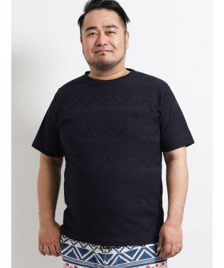 【大きいサイズ】グランバック/GRAND-BACK リンクスジャガードボーダー柄Vネック半袖Tシャツ