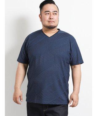【大きいサイズ】レノマオム/renoma HOMME 吸汗速乾バイヤスジャガード ダブルVネック半袖Tシャツ
