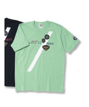 【大きいサイズ】シナコバ/SINA COVA  天竺ワッペン使い クルーネック半袖Tシャツ