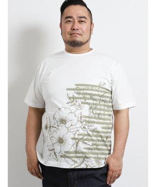 【大きいサイズ】ヘンリーバル/HENRY VAL 天竺プリントデザインネック半袖Tシャツ