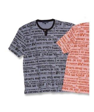 【大きいサイズ】ヘンリーバル/HENRY VAL 総柄プリントデザインネック半袖Tシャツ