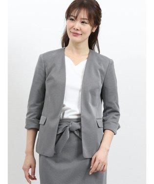 ストレッチニットジャージ セットアップノーカラー7分袖ジャケット
