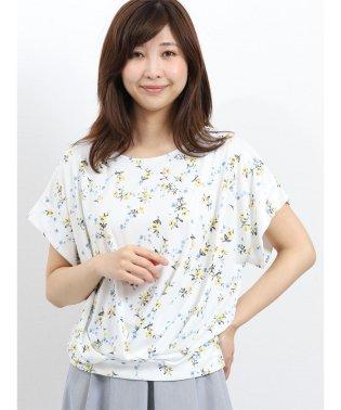 強撚スムース花柄たけのこタック半袖プルオーバー