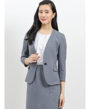 エバレット/EVARET ノーカラー7分袖ジャケット+スカート ライトグレー