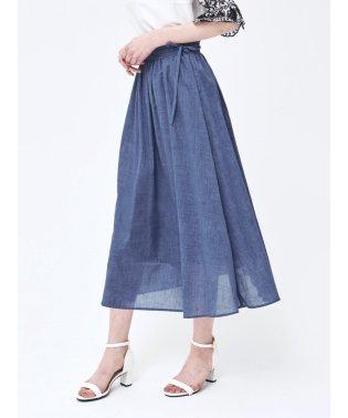 杢調サイドリボン ギャザーロングスカート