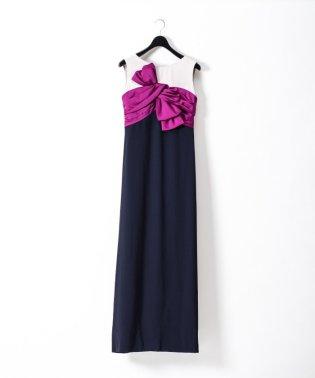 【ドラマ着用】リボン配色ロングドレス