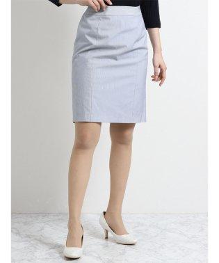 ナチュラルストレッチ セットアップスカート コードレーン青