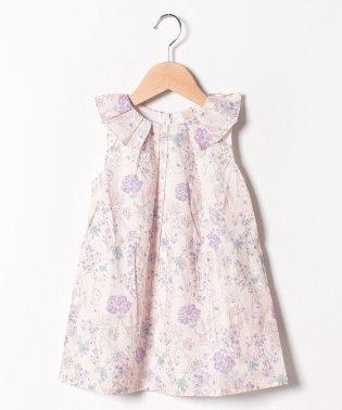 タック衿花柄ワンピース