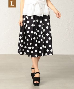 【L】【はっ水】【ウォッシャブル】ポルカドットプリントスカート
