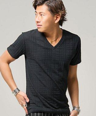 CavariA【キャバリア】シェパードチェック柄ジャガード編み半袖VネックTシャツ