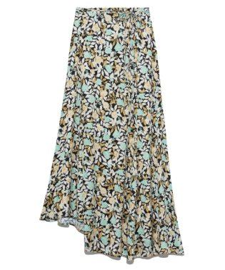 ランダムヘムフラワープリントスカート