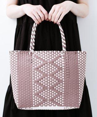 編み柄がかわいい かごトートバッグ