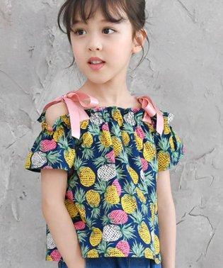 パイナップル柄×肩リボンオフショル