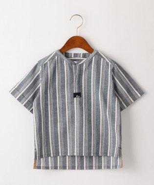 ストライプオーバーサイズプルオーバーシャツ ネイビー