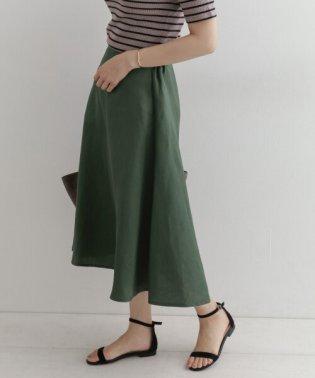 麻サテンフレアスカート