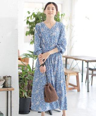 ★【MAGASEEK・d fashion別注】ビンテージサテンフラワーマキシワンピース