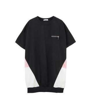 Free Nature 胸フェイクファスナー切替配色ビッグTシャツ 89852NM