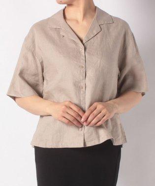 :フレンチリネンオープンカラーシャツ/C