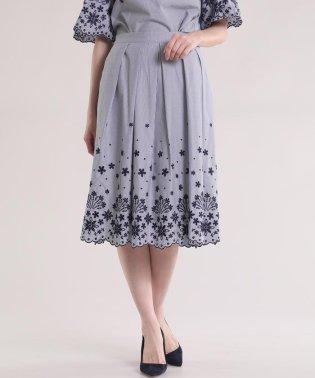 スカラップ刺繍フレアスカート