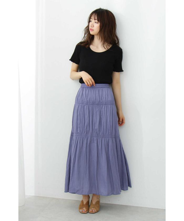 ギャザーサテンスカート