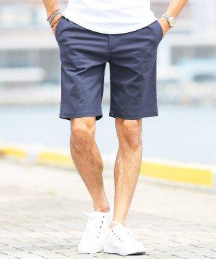 綿麻ストレッチショートパンツ / ハーフパンツ メンズ ショートパンツ 短パン 膝上 半パン ストレッチ