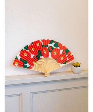 【カヤ】和の香り 椿紙扇子 袋付き 7HJP9202