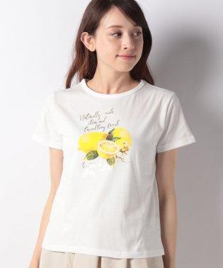 レモン柄コットンTシャツ