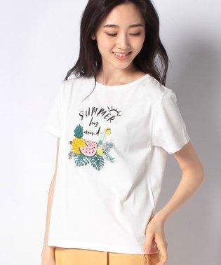 フルーツ柄コットンTシャツ
